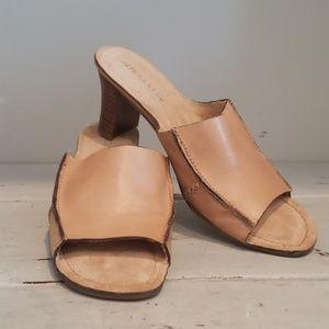 Aerosoles tan leather mule slides